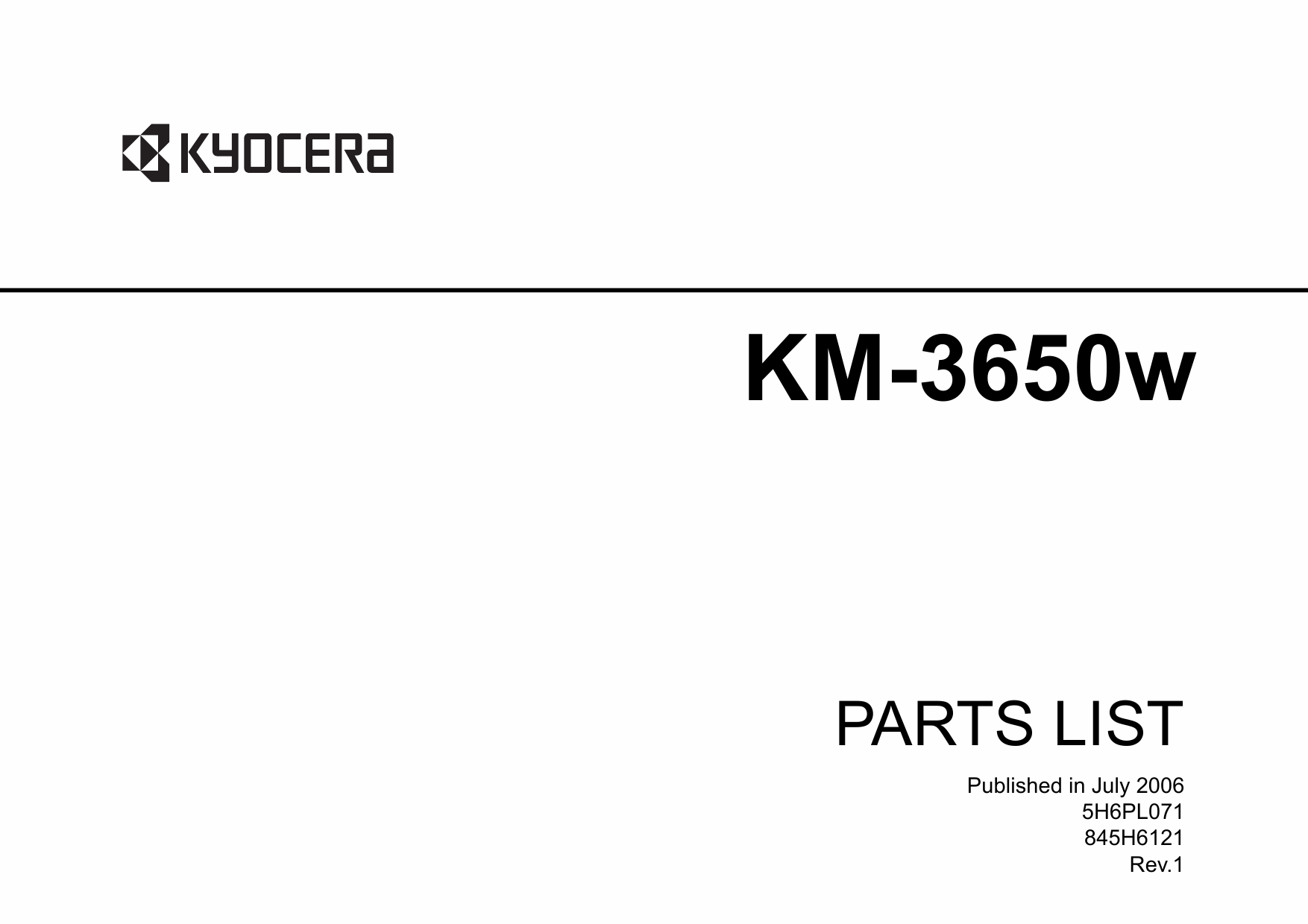 KYOCERA WideFormat KM-3650w Parts Manual-1